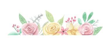 Gräns för ram för sommar för vår för blad för sidor för vattenfärgblommabröllop Arkivbilder