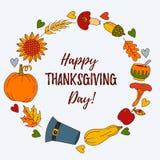 Gräns för vektor för symboler för tacksägelsedagklotter färgrik stock illustrationer