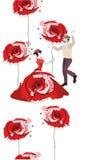 Gräns från röda vallmo och dansfolk royaltyfri illustrationer