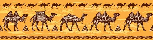 Gräns med kamelhusvagn- och person som tillhör en etnisk minoritetmotiv royaltyfri illustrationer