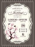 Gräns och ram för inbjudan för bröllop för körsbärsröd blomning för tappning Arkivfoton