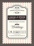 Gräns och ram för tappningbröllopinbjudan Arkivbild
