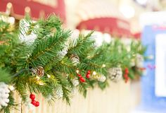 Gränsa kotten för julgranfilialen med garnering för jul för den ljusa bärjärnekgatan festlig med perperktive Royaltyfri Foto