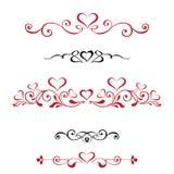 Gränsar fastställda dekorativa karaktärsteckningar för vektor med hjärtor, tappning Beträffande Royaltyfri Fotografi