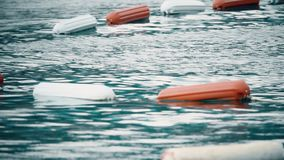Gränsen av att simma område på havet som markeras med att sväva, håller flytande lager videofilmer