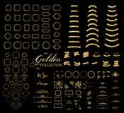Gränser och guld- samling för ramar, guld- elegant dekorativt streckat karaktärsteckningtecken vektor illustrationer