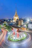 Gränsmärke av den kineskvarterOdeon cirkeln i Bangkok Thailand Arkivfoton