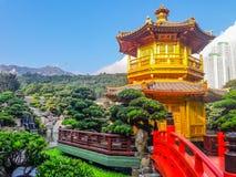 Gränsmärke av Hong Kong - Nan Lian Garden Chinese Classical Garden arkivfoto