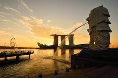 Gränsmärke av Singapore Arkivbilder