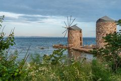 Gränsmärke Chios gamla Mills Landmark arkivfoto