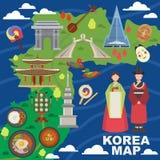 Gränsmärke för sight för symboler för koreansk kultur för tecken för Korea översiktsvektor som traditionell reser i Sydkorea vektor illustrationer