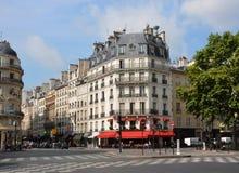 Gränsmärke Le Helgon Germain Restaurant, Paris Frankrike. Arkivbilder