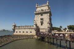 Gränsmärke Lissabon för europeisk historia för sikt för arv för Torre de Belem UNESCOvärld arkitektonisk royaltyfri fotografi