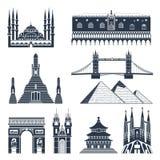 Gränsmärke- och monumentsvartuppsättning Arkivbild