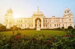 Gränsmärke som bygger Victoria Memorial i Indien royaltyfria foton