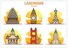 Gränsmärkebyggnadsvektor royaltyfri illustrationer