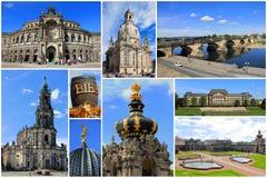 Gränsmärkecollage av Dresden, Sachsen i Tyskland Royaltyfria Bilder