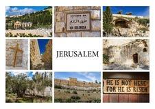 Gränsmärken av Jerusalem - fotocollage Arkivbild
