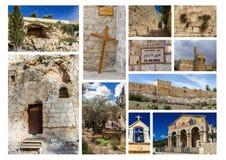 Gränsmärken av Jerusalem - fotocollage Royaltyfria Bilder