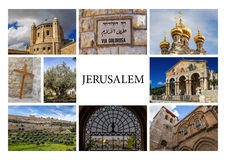 Gränsmärken av Jerusalem - fotocollage Fotografering för Bildbyråer