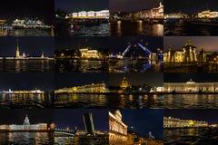 Gränsmärken av St Petersburg på nattbelysning färglinje nattfotografi Royaltyfri Foto