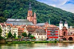 Gränsmärken av Tyskland - medeltida Heidelberg stad i Baden-Wurtte royaltyfria bilder