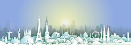 Gränsmärken av världen med staden och solnedgångbakgrund vektor illustrationer