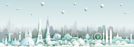 Gränsmärken av världen med stadshorisontbakgrund royaltyfri illustrationer