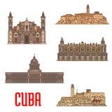 Gränsmärken och sighter av Kuban stock illustrationer