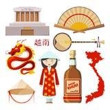 Gränsmärken och symboler av Vietnam vektor illustrationer