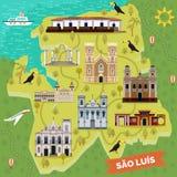 Gränsmärken på översikt av Sao Luis Brasilien sight stock illustrationer