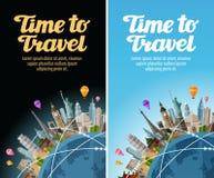 Gränsmärken på jordklotet Lopp till världen Resa tur royaltyfri illustrationer