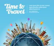 Gränsmärken på jordklotet Lopp till världen Turism eller semester royaltyfri illustrationer
