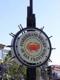 Gränsmärket för hamnplatsen för fiskare` s undertecknar den historiska in San Francisco, Kalifornien royaltyfri foto