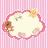 Gränsmall med leksaker på rosa bakgrund stock illustrationer