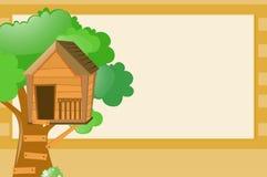 Gränsmall med treehousebakgrund Royaltyfria Bilder