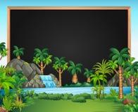 Gränsmall med vattenfallplats vektor illustrationer