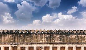 Gränsvägg av fortet Amer på Jaipur Fotografering för Bildbyråer