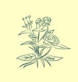 Gräs med blommauppsättningen Royaltyfri Foto