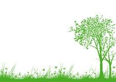 Gräs och trees vektor illustrationer