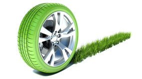 Gräs- spår från ett bra hjul Ekologitransportbegrepp Fotografering för Bildbyråer
