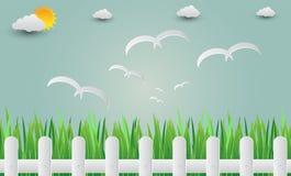 Gräs staketet med fåglar som flyger in i himlen Pappers- konst illu Arkivfoton