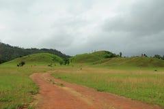 Gräsberget med molnigt, det berömda loppstället på söder av Thailand Arkivbild