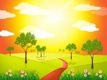 Gräsbygd indikerar sol- plats och soligt Arkivfoton