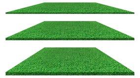 Gräsfält som isoleras på vit bakgrund för golfbana, fotbollfält eller sportbegreppsdesign Konstgjort grönt gräs arkivbild