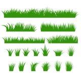Gräsgränsuppsättning, grön tofsvektor vektor illustrationer