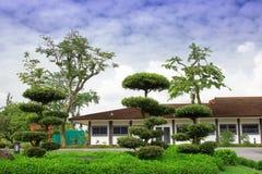 Gräsmatta framme av ett landshus Royaltyfria Foton