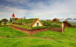 Gräsmattabeläggninghus, Island original- byggnader, Glaumbaer arkivbilder