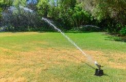 Gräsmattabevattningspridare på en grön gräsmatta royaltyfria foton