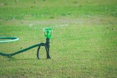 Gräsmattavattenspridare på grönt gräs som besprutar och bevattnar ängen på den utomhus- trädgården i säsongsbetonad sommar fotografering för bildbyråer